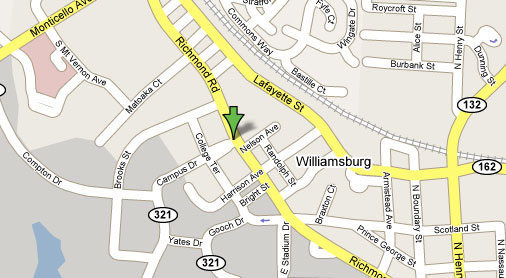 Map of our Bed and Breakfast in Williamsburg Virginia