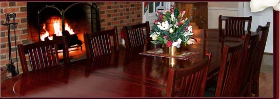 Dining Room with fireplace at our Williamsburg Bed and Breakfast Inn